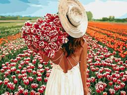 """Картина по номерам """"Охапка тюльпанов"""" 40*40см KHO4725"""