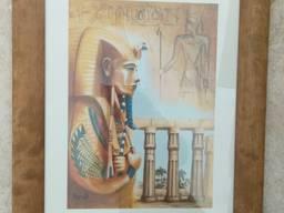 Картина репродукция Фараон в деревянной раме 47*37 см.