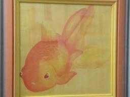 Картина репродукция Золотая рыбка 41*41 см.