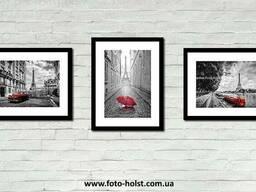 Картина триптих Эйфелева башня, красный автомобиль, зонт