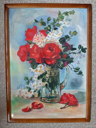 Гуашь. Картина в рамке 45х63