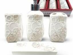 """Керамический набор для ванной комнаты S&T """"Розы"""""""