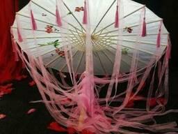 Китайский зонт от солнца с ленточками (черный, белый, красный)
