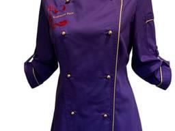Кітель двобортний жіночий, Тканина - Голландія TR-MED, фіолетовий з золотим кантом