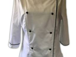 Кітель двобортний жіночий, тканина _ основа евро, білий з чорним кантом