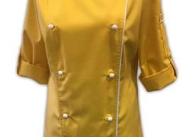 Кітель двобортний жіночий, Тканина - TR-MED Голландія. Колір жовтий з білим кантом кантом