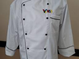Китель повара белый с черным кантом, пошив поварских кителей
