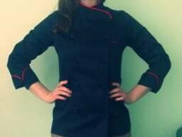 Китель повара женский, черный с красным кантом пошив