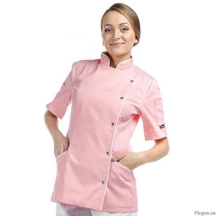 Китель повара женский розовый пошив одежды поварской