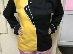 Китель поварской двубортный черный с желтым