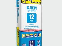 Клей-12 (СБС-12), для керамогранита и большой плитки, универсальный, 25кг, клеевая смесь Б