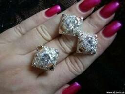 Кольца и серьги из серебра с золотом