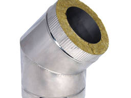 Колено (угол) 45º с теплоизоляцией в оцинкованном кожухе