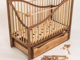 """Колиска """"Мелодіка"""". Дитяче ліжечко. Вільха, віск. Маятникови"""
