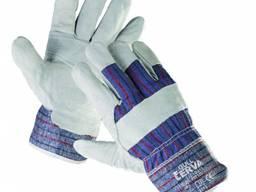 Комбіновані робочі рукавички GULL з коров'ячого спилка, з підкладкою на долоні.