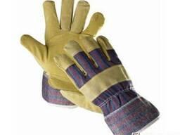 Комбіновані рукавички з розщепленої шкіри (спилка) на бавовн