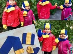 Комплект детский шапочка шарф рукавички