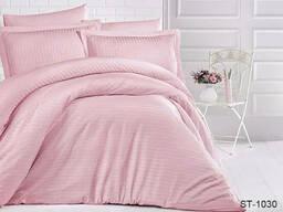 Комплект постільної білизни страйп-сатин Luxury ST, Рожевий, Сімейні