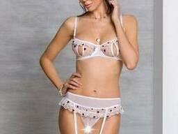 Комплект з поясом для панчіх і стрінги з вирізом Passion Lovelia SET, Білий, 2XL/3XL