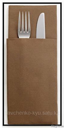 Конверт бумажный для столовых приборов (из крафт картона)
