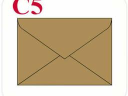 Конверт из крафт картона С5 треугольный клапан