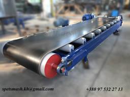 Конвейер ленточный, транспортер для штучных грузов с прямым роликом 3 метра. Лента 650 мм