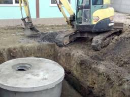 Копка сливных ям под ЖБИ кольца, сооружение септиков.