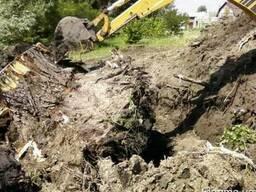 Корчевка пней корней экскаватором Киев. Вывоз на свалку