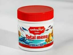 Корм Аквариус Тотал меню хлопья для всех видов аквариумных рыб улиток креветок раков 30 г