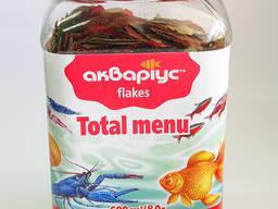 Корм для рыб, улиток, креветок, раков Total Menu тм Аквариуc 600 мл/80г