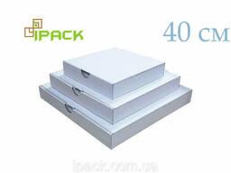 Коробка для пиццы квадратная 40 см белая 400*400*50 мм
