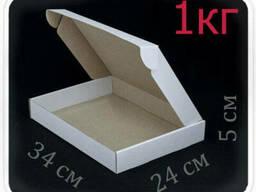 Коробка микрогофрокартон 34х24х5 см (белая, 1 кг)