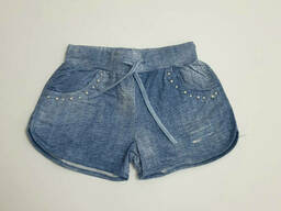 Короткие трикотажные подростковые шорты для девочки под джинс 164
