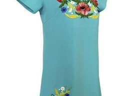 Короткое вышитое подростковое платье на праздник «Мак - василек» Бірюза