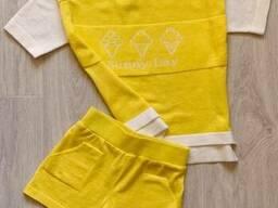 Костюм для дівчинки Sunny Day Жовтий 122/128 футболкашорти SKL58-252267