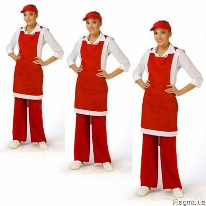 Комплект продавца: фартук с нагрудником брюки, женский,