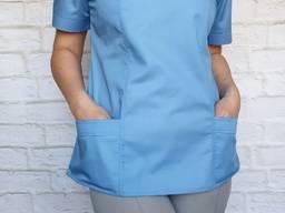 Костюм хирургический женский серые брюки голубая куртка