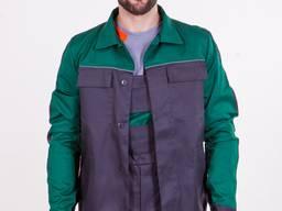 Костюм куртка и полукомбинезон , зеленая кокетка