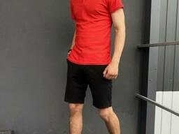 Костюм летний красно-черный Мужская футболка поло Мужские шорты трикотажные и Кепка. ..