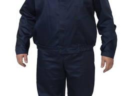 Костюм модельный, брюки и куртка , ткань Саржа, темно-синий