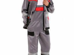 Костюм мужской рабочий, модельный, куртка и полукомбинезон