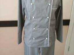 Костюм поварской, китель и брюки серого цвета
