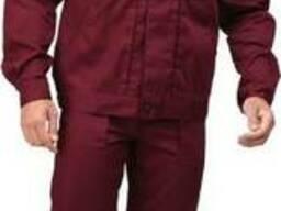 Костюм рабочий бордовый с черной кокеткой пошив спецодежды