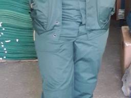 Костюм рабочий демисезонный куртка полукомбинезон зеленый с СВП грета ЧШК
