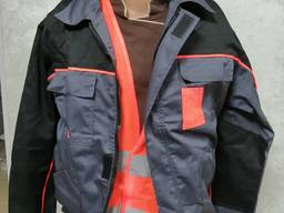 Костюм рабочий куртка брюки серый ткань саржа