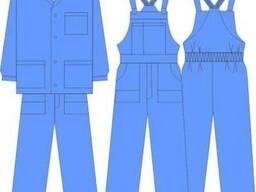 Костюм рабочий куртка с полукомбинезоном синего цвета 53%х\б