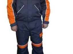 Рабочий костюм с полукомбинезоном серо-оранжевый