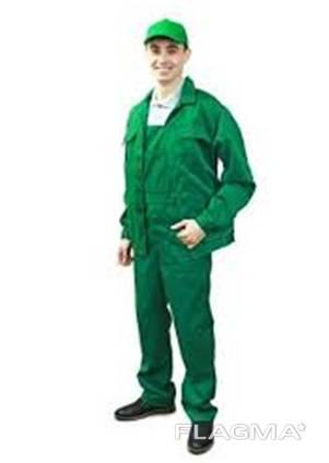 Костюм рабочий саржа 100% хб, зеленого цвета куртка и п/к