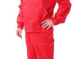 Костюм рабочий Строитель, ткань саржа красная