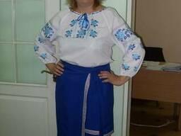 Костюм украинский женский, блуза, юбка, машинная вышивка,